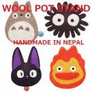 10%OFF - 4 Pot Stand - Wool - Handmade in Nepal - Totoro Kurosuke Jiji Calcifer - Ghibli 2017 (new)