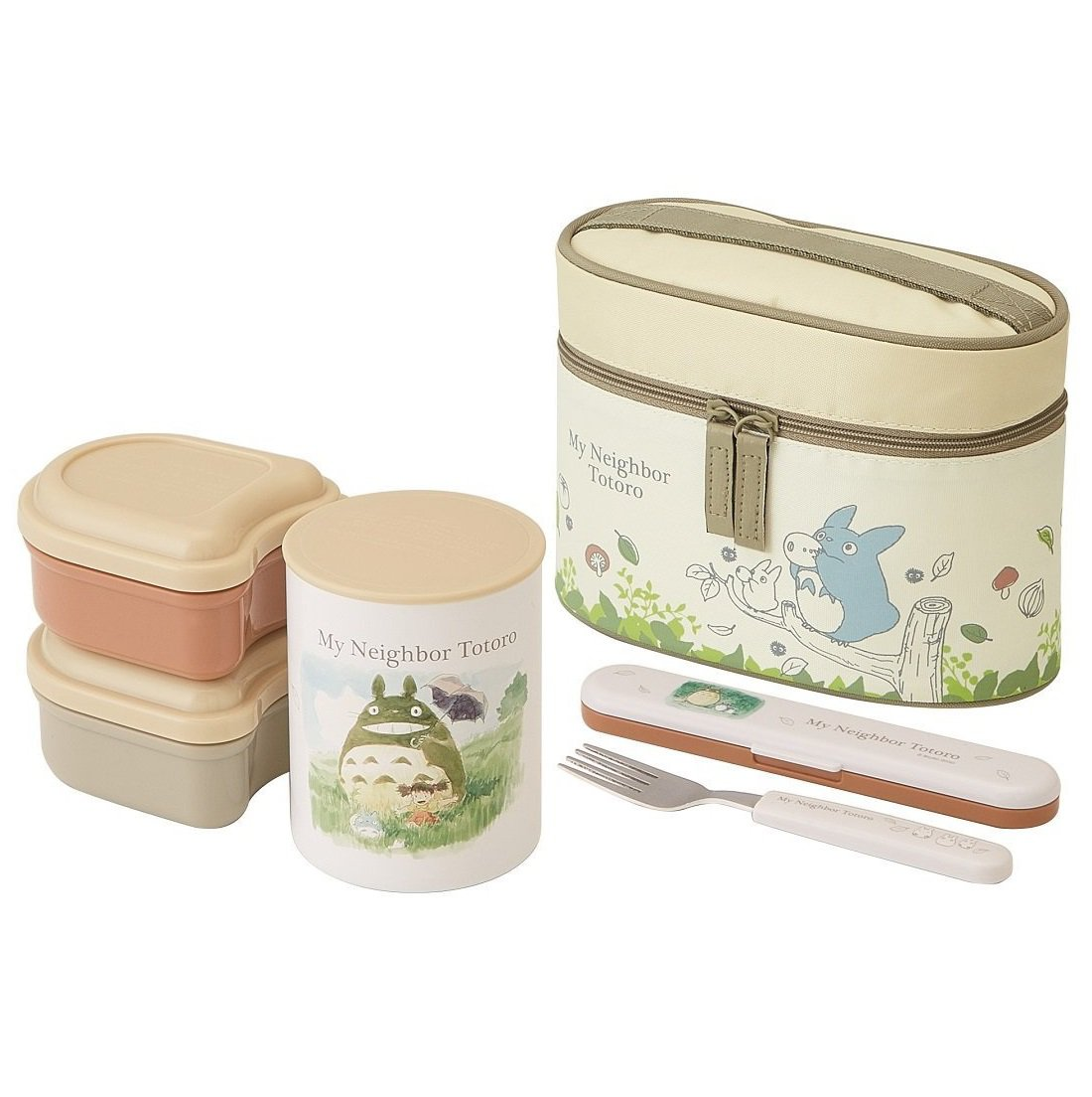 Stainless Steel Lunch Bento Box 560ml - Jar 2 Containers Fork in Case Thermal Case - Totoro 2017