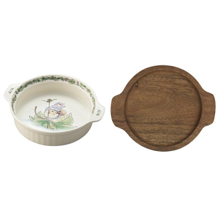 5% OFF - Ovenware & Holder Set - Fine Porcelain & Wood - Noritake Totoro Ghibli 2017 (new)