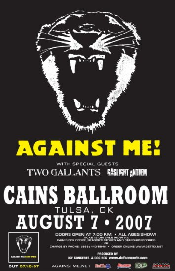 AGAINST ME two gallants Promotional CONCERT POSTER