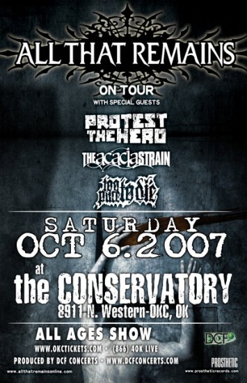 ALL THAT REMAINS concert poster PROTEST THE HERO
