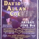 DAVID ALLAN COE rare promotional CONCERT poster vance