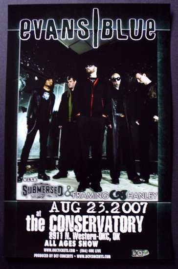 EVANS BLUE submersed promotional CONCERT POSTER hanley collectible