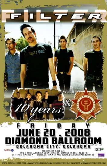 FILTER 10 years Promotional CONCERT poster Opiate Mass