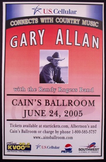 GARY ALLAN promotional CONCERT poster RANDY ROGERS BAND collectible