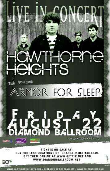 HAWTHORNE HEIGHTS concert poster ARMOR FOR SLEEP