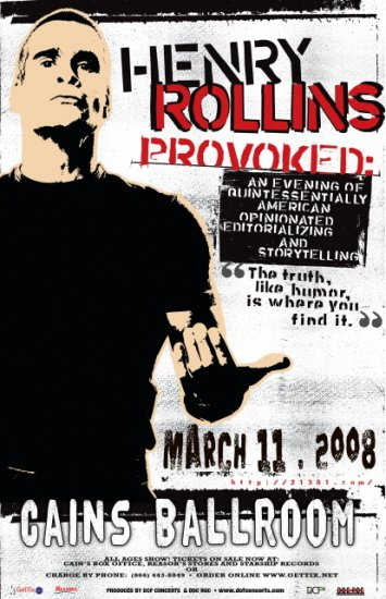 HENRY ROLLINS provoked Promotional show concert poster
