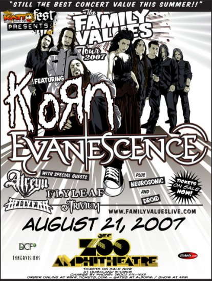 KORN flyleaf Concert Poster EVANESCENCE hellyeah collectible