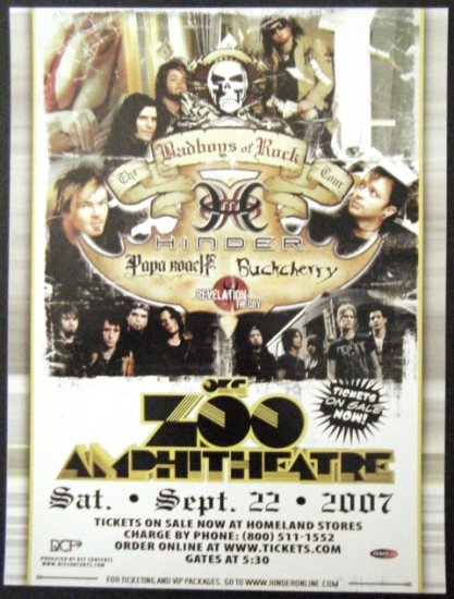 HINDER papa roach CONCERT POSTER buckcherry promotional collectible