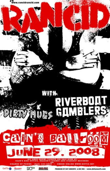 RANCID riverboat gamblers Dirty Mugs CONCERT POSTER collectible