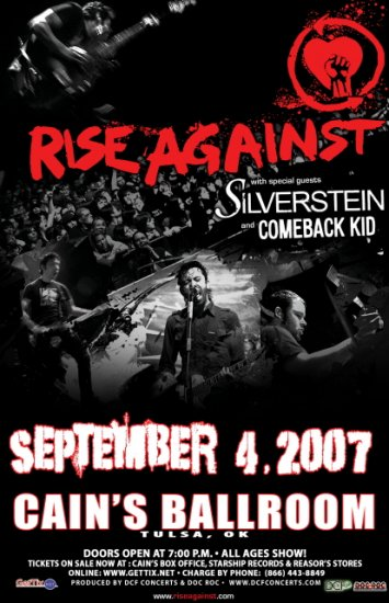 RISE AGAINST silverstein COMEBACK KID concert poster collectible