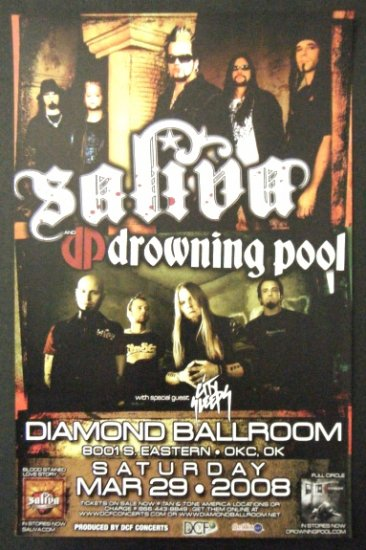 SALIVA rare promotional CONCERT POSTER drowning pool collectible