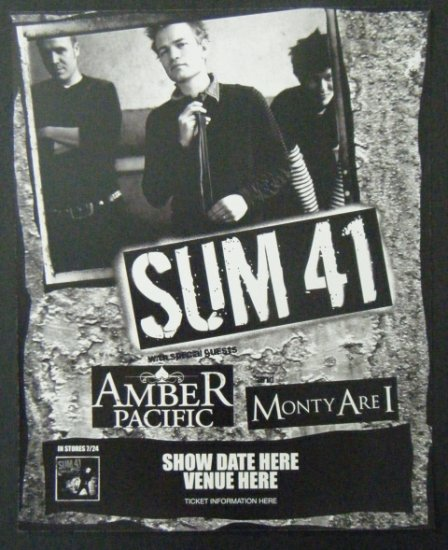 SUM 41 rare promotional CONCERT POSTER amber pacific collectible