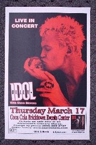 BILLY IDOL rare promotional CONCERT poster Collectible