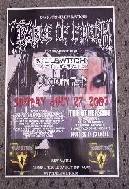 CRADLE OF FILTH Concert Poster KILLSWITCH ENGAGED Collectible