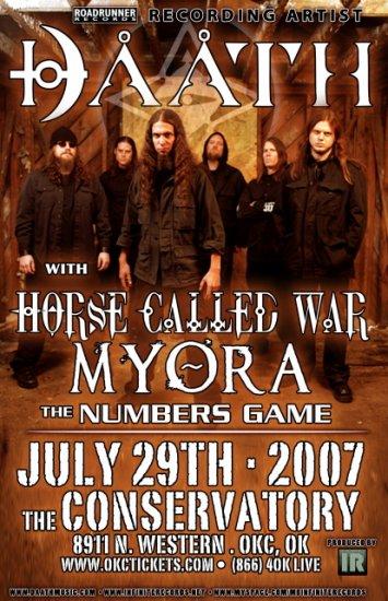 DAATH horse called war Myora Concert tour poster Collectible