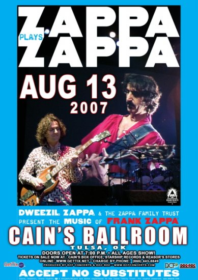 DWEEZIL ZAPPA plays ZAPPA promotional CONCERT POSTER collectible