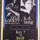 LYLE LOVETT & k.d. LANG promotional Concert tour poster collectible