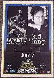 LYLE LOVETT & k.d. LANG promotional Concert tour poster collectible