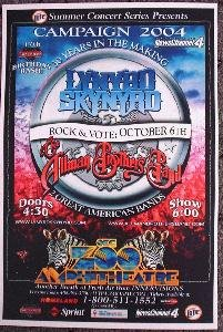 LYNYRD SKYNYRD rare ALLMAN BROTHERS BAND concert poster collectible
