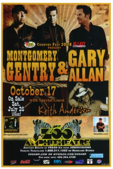 MONTGOMERY GENTRY with GARY ALLAN with KEITH ANDERSON rare promotional CONCERT poster collectible