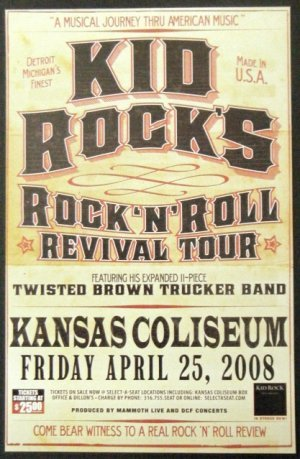 KID ROCK promotional CONCERT POSTER twisted brown truck collectible