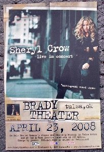 SHERYL CROW rare promotional CONCERT poster collectible