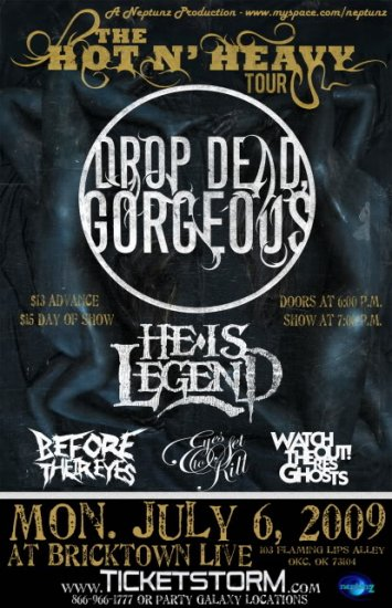 """Drop Dead Gorgeous He Is Lengend Before Their Eyes Eyes Set To Kill 11"""" x 17"""" Concert Poster"""