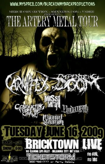 """Carnifex with Impending Doom Missi May and Underneath the Gun 11"""" x 17"""" Concert Poster"""