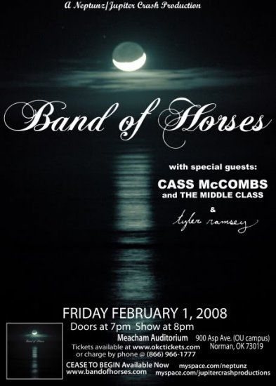 Band of Horses with Cass McCombs & The Middle Class & Tyler Ramsey Concert Poster