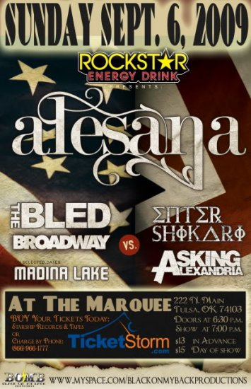 """Alesana with The Bled & Broadway & Asking Alexandria 11"""" x 17"""" Concert Poster"""