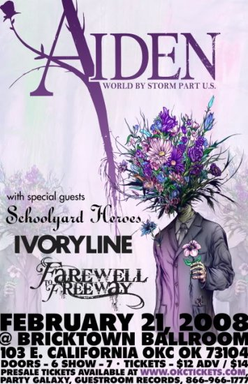 "Aiden with Schoolyard Heroes & Ivoryline & Farewell to Freeway 11"" x 17"" Concert Poster"