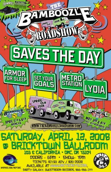 """Saves the Day with Armor For Sleep & Set Your Goals & Lydia 11"""" x 17"""" Concert Poster"""