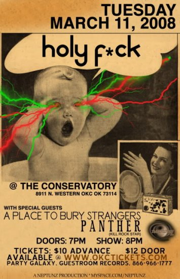"Holy F*ck with A Place To Bury Strangers & Panther 11"" x 17"" Concert Poster"