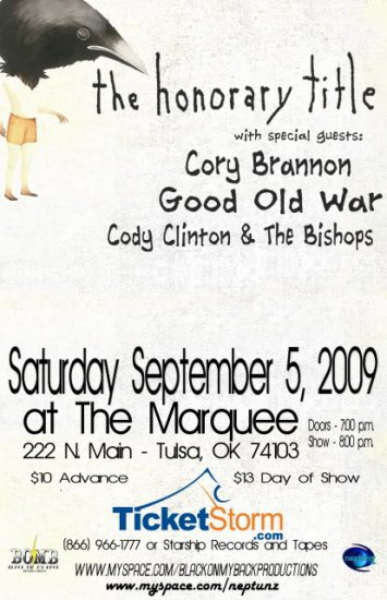 """The Honorary Title with Cory Brannon & Good Old War & Cody Clinton 11"""" x 17"""" Concert Poster"""