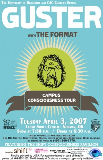 """Guster with The Format promotional 11"""" x 17"""" Concert Poster"""