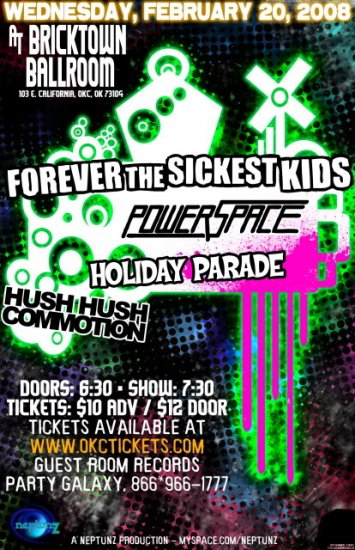 "Forever The Sickest Kids with Power Space & Holiday Parade 11"" x 17"" Concert Poster"