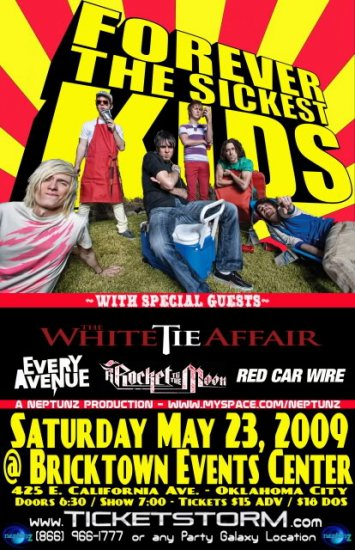 "Forever The Sickest Kids with White Tie Affair & Every Avenue 11"" x 17"" Concert Poster"