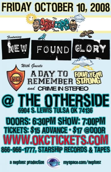"""New Found Glory with A Day To Remember & Crime in Stereo 11"""" x 17"""" Concert Poster"""