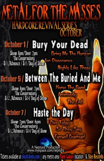 """Bury Your Dead with Haste The Day 11"""" x 17"""" Concert Poster"""