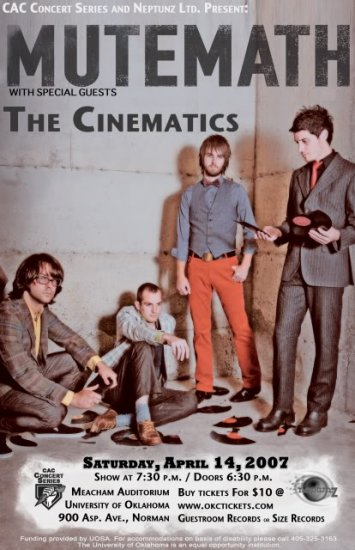 """Mute Math with The Cinematics 11"""" x 17"""" Concert Poster"""