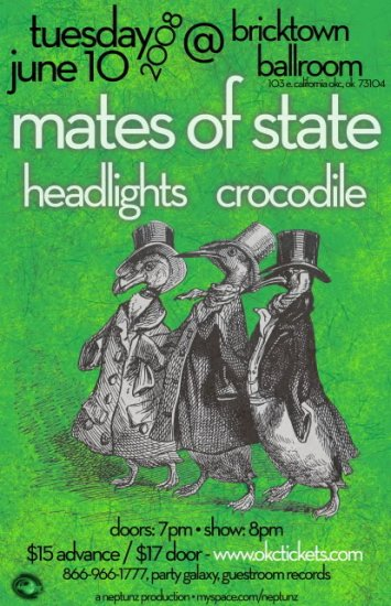 """Mates of State with Headlights & Crocodile 11"""" x 17"""" Concert Poster"""