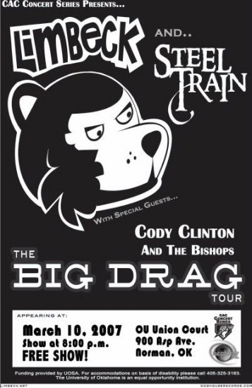 """Limbeck with Steel Train & Cody Clinton and the Bishops 11"""" x 17"""" Concert Poster"""