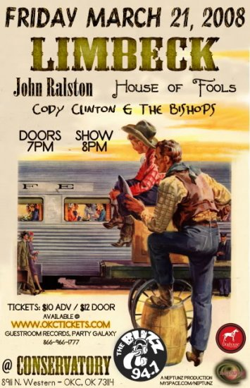 """Limbeck with John Ralston & House of Fools & Cody Clinton and the Bishops 11"""" x 17"""" Concert Poster"""