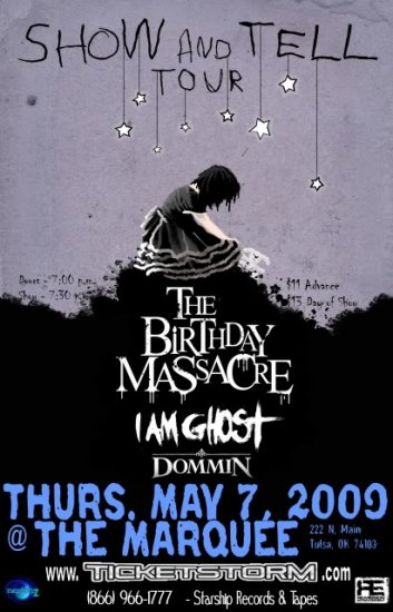 """Birthday Massacre with I Am Ghost & Dommin 11"""" x 17"""" Concert Poster"""