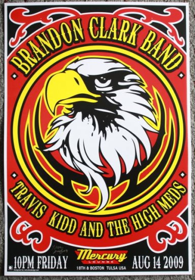"""Brandon Clark Band with Travis Kidd promotional Thom Self 13"""" x 19"""" Concert Poster"""