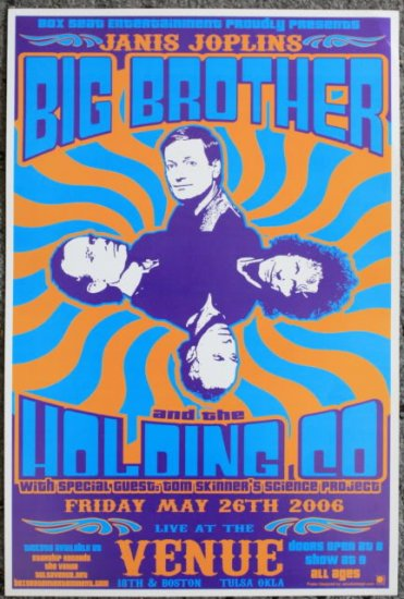 """Big Brother and the Holding Co. & Tom Skinner's promotional Thom Self 13"""" x 19"""" Concert Poster"""