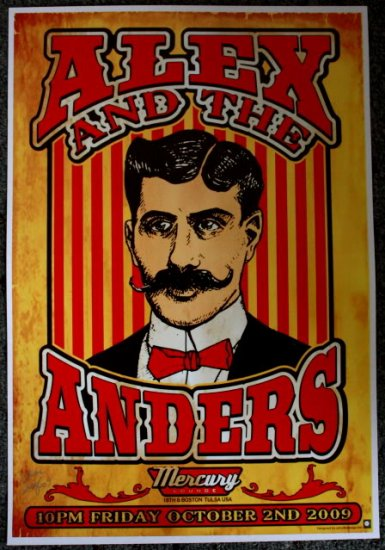 """Alex and the Anders promotional Thom Self 13"""" x 19"""" Concert Poster"""