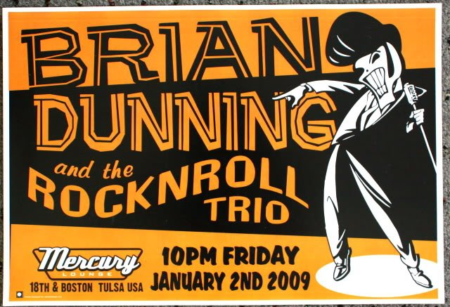 """Brian Dunning & the Rock N Roll Trio promotional Thom Self 19"""" x 13"""" Concert Poster"""