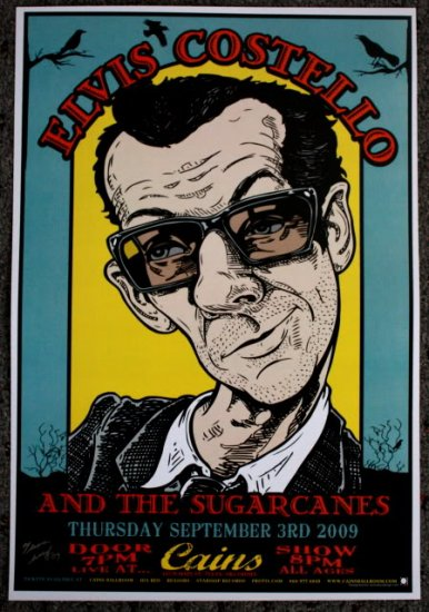 """Elvis Costello promotional Thom Self 13"""" x 19"""" Concert Poster"""